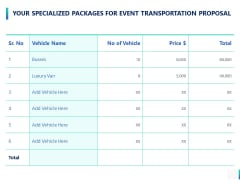 Your Specialized Packages For Event Transportation Proposal Ppt PowerPoint Presentation Outline Microsoft