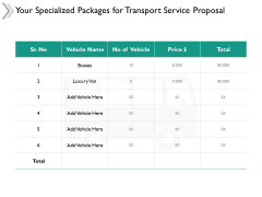 Your Specialized Packages For Transport Service Proposal Ppt Powerpoint Presentation File Model
