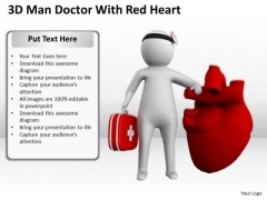 Young Business People 3d Man Doctor With Red Heart PowerPoint Templates Ppt Backgrounds For Slides