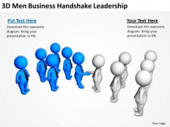 Young Business People 3d Men Handshake Leadership PowerPoint Templates