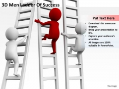 Young Business People 3d Men Ladder Of Success PowerPoint Templates Ppt Backgrounds For Slides