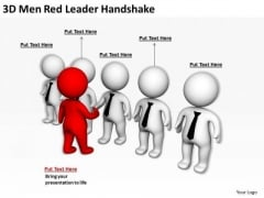 Young Business People 3d Men Red Leader Handshake PowerPoint Templates