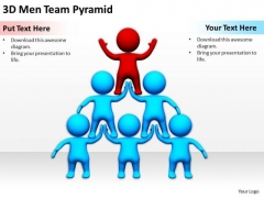 Young Business People 3d Men Team Pyramid PowerPoint Slides