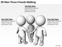 Young Business People 3d Men Three Friends Walking PowerPoint Templates Ppt Backgrounds For Slides