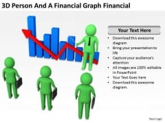 Young Business People 3d Person And Financial Graph PowerPoint Templates
