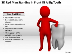 Young Business People 3d Red Man Standing Front Of Big Tooth PowerPoint Templates