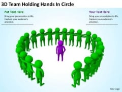 Young Business People 3d Team Holding Hands Circle PowerPoint Templates