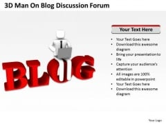 Young Business People Man On Blog Discussion Forum PowerPoint Templates Ppt Backgrounds Slides