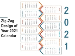Zig Zag Design Of Year 2021 Calendar Ppt PowerPoint Presentation Inspiration Structure PDF