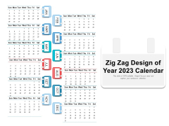 Zig Zag Design Of Year 2023 Calendar Ppt PowerPoint Presentation Gallery Samples PDF