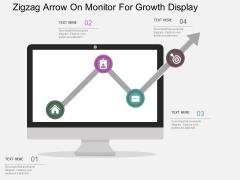 Zigzag Arrow On Monitor For Growth Display Powerpoint Templates