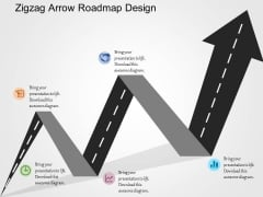 Zigzag Arrow Roadmap Design PowerPoint Templates
