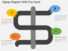 Zigzag Diagram With Four Icons Powerpoint Template