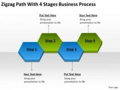 Zigzag Path With 4 Stages Business Process Ppt Plan Contents PowerPoint Slides