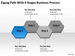 Zigzag Path With 4 Stages Business Process Ppt Plan Samples PowerPoint Templates