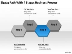 Zigzag Path With 4 Stages Business Process Ppt Shop Plan PowerPoint Templates