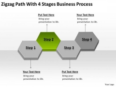 Zigzag Path With 4 Stages Business Process Ppt Small Plans Template PowerPoint Slides