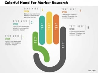 business diagram colorful hand for market research presentation, Powerpoint templates
