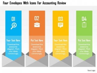 business diagram four envelopes with icons for accounting review, Presentation templates