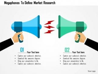 business diagram megaphones to define market research presentation, Powerpoint templates