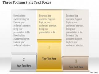 business diagram three podium style text boxes presentation, Presentation templates