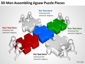 business men 3d assembling jigsaw puzzle pieces powerpoint, Modern powerpoint