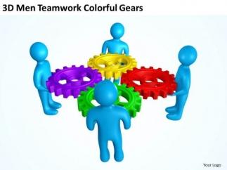 Business Process Flowchart 3d Men Teamwork Colorful Gears ...