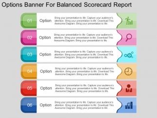 options banner for balanced scorecard report powerpoint template, Modern powerpoint