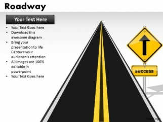 success ahead road signs powerpoint slides and ppt presentation, Powerpoint templates