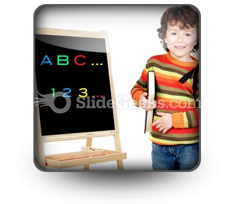 Adorable Child Studying PowerPoint Icon S