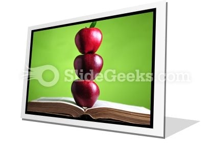 Apples On Book PowerPoint Icon F