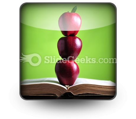 Apples On Book PowerPoint Icon S