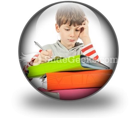 Boy With Books PowerPoint Icon C
