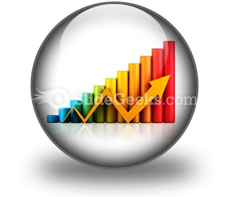 Business Graph With Arrow PowerPoint Icon C