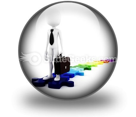 Businessman Standing On Puzzles PowerPoint Icon C