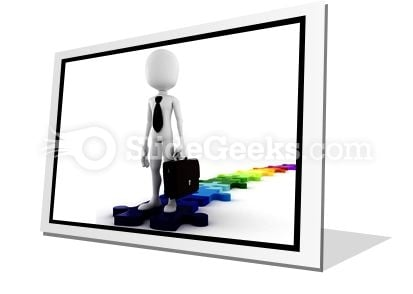 Businessman Standing On Puzzles PowerPoint Icon F