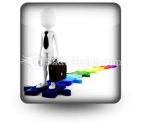 Businessman Standing On Puzzles PowerPoint Icon S