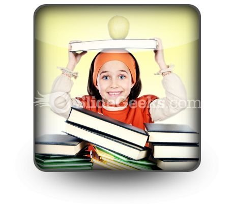Child Girl Studying PowerPoint Icon S