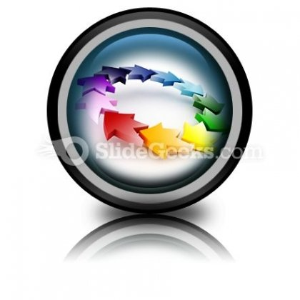 Colorful Circular Arrows PowerPoint Icon Cc