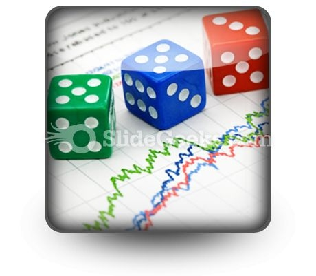 Dices On Financial Graph PowerPoint Icon S