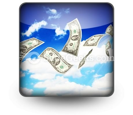 Dollar Bills Fly In Flocks PowerPoint Icon S