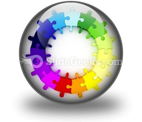 Puzzle Chart Wheel PowerPoint Icon C