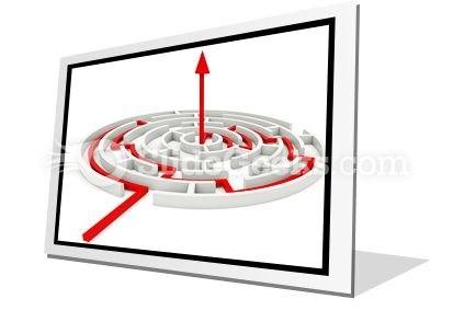 Red Path Across Round Labyrinth PowerPoint Icon F