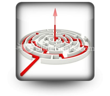 Red Path Across Round Labyrinth PowerPoint Icon S