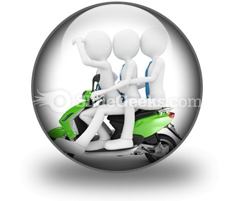Team On The Scooter PowerPoint Icon C