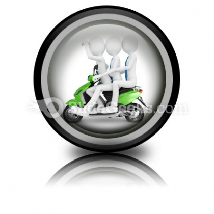 Team On The Scooter PowerPoint Icon Cc