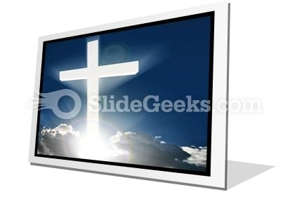 White Cross In Sky PowerPoint Icon F