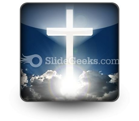 White Cross In Sky PowerPoint Icon S