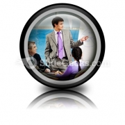 Business Group Listen PowerPoint Icon Cc