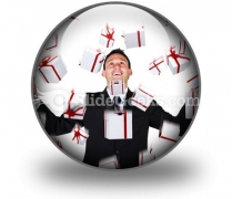 Business Man With Gifts PowerPoint Icon C